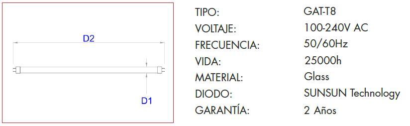 Características Bombilla LED marca Grealtec TUBO T8